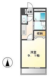 愛知県名古屋市中川区供米田2丁目の賃貸アパートの間取り