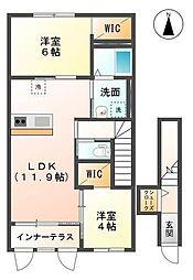 袖ケ浦市代宿88番6他新築アパート[203号室]の間取り