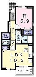 香川県坂出市西大浜北4丁目の賃貸アパートの間取り