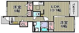 ヴィラ和泉砂川1・2[2-102号室]の間取り