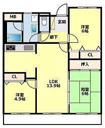 愛知県みよし市三好丘あおば1丁目の賃貸マンションの間取り