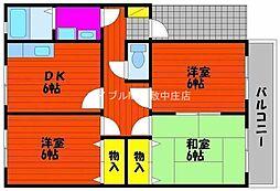 岡山県岡山市北区西市丁目なしの賃貸アパートの間取り