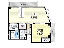 阪急神戸本線 夙川駅 徒歩4分の賃貸マンション 2階1LDKの間取り