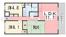 兵庫県姫路市下手野2丁目の賃貸マンションの間取り