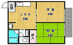 大阪府枚方市甲斐田町の賃貸アパートの間取り