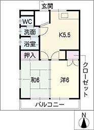 コーポハッピーメークI[2階]の間取り