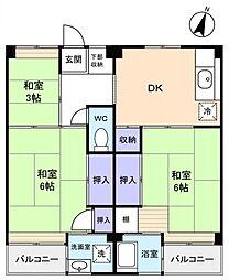 ビレッジハウス勝田3号棟[4階]の間取り