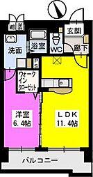 福岡県久留米市日ノ出町の賃貸マンションの間取り