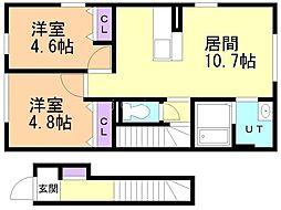 仮)D-room曙5条1丁目 2階2LDKの間取り