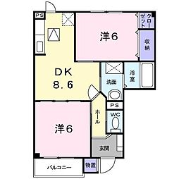 長野県上田市芳田の賃貸アパートの間取り