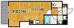 京都府京都市上京区千本通出水下ル十四軒町の賃貸マンションの間取り