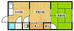 大阪府大東市野崎1丁目の賃貸アパートの間取り