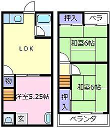南海高野線 初芝駅 徒歩13分の賃貸一戸建て 1階3DKの間取り