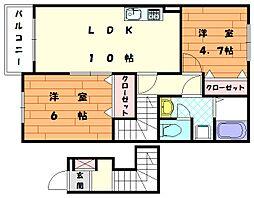 パーミィ・ヒル壱番館[2階]の間取り