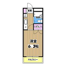 東京都武蔵村山市大南1丁目の賃貸マンションの間取り