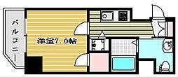 ファーストステージ京町堀レジデンス 2階1Kの間取り