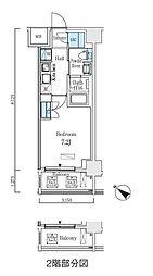 都営浅草線 人形町駅 徒歩9分の賃貸マンション 8階1Kの間取り