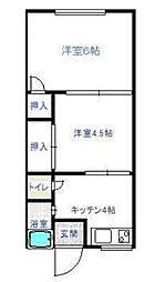 兵庫県神戸市北区西大池1丁目の賃貸アパートの間取り