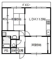 広島県広島市佐伯区吉見園の賃貸マンションの間取り