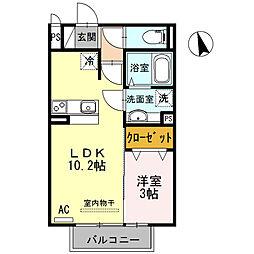 兵庫県高砂市春日野町の賃貸アパートの間取り