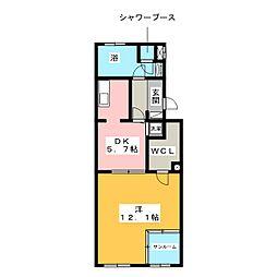 レインボーカーサ内田橋[1階]の間取り