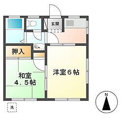 神奈川県川崎市宮前区小台1丁目の賃貸アパートの間取り