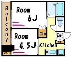 都営新宿線 船堀駅 徒歩25分の賃貸マンション 1階2Kの間取り