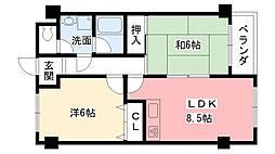 兵庫県西宮市今津上野町の賃貸マンションの間取り