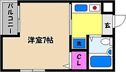 兵庫県芦屋市宮川町の賃貸マンションの間取り