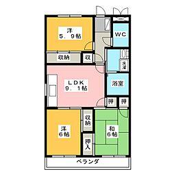 ヤマキンマンション[3階]の間取り