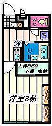JR京浜東北・根岸線 大宮駅 バス24分 庚申塚下車 徒歩6分の賃貸アパート 2階1Kの間取り