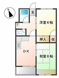 西甲子園ハイツ[4階]の間取り
