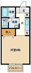 埼玉県越谷市大字平方の賃貸アパートの間取り
