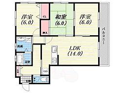 阪神本線 西宮駅 徒歩19分の賃貸マンション 3階3LDKの間取り