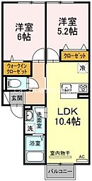 岡山県岡山市東区西大寺新地の賃貸アパートの間取り