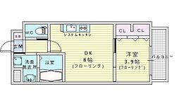 阪急千里線 山田駅 徒歩14分の賃貸マンション 4階1DKの間取り