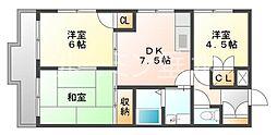 ハイツ甲村A棟[3階]の間取り