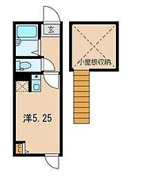 東京都足立区千住仲町の賃貸アパートの間取り