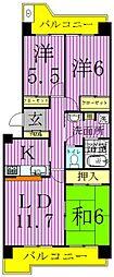 サンモール東綾瀬[3階]の間取り