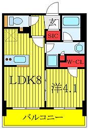 都営三田線 板橋区役所前駅 徒歩5分の賃貸マンション 8階1LDKの間取り