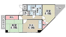 パル兵庫[201号室]の間取り