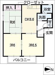 コーポ安濃E[1階]の間取り