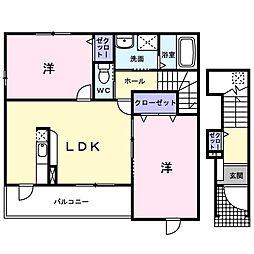 JR津山線 玉柏駅 徒歩28分の賃貸アパート 2階2LDKの間取り
