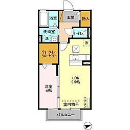 千葉県木更津市ほたる野2の賃貸アパートの間取り