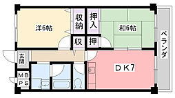 メゾンロブレ西宮[203号室]の間取り