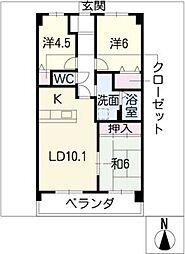 宝マンション上小田井ステーション壱番[3階]の間取り