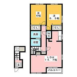 ミルトハーモニーA・B[2階]の間取り
