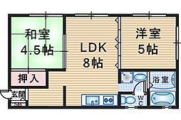 シティハイム千里園[2階]の間取り