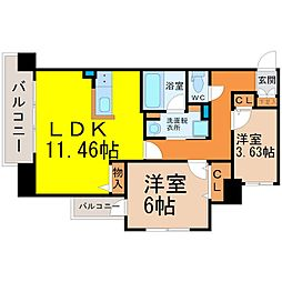 Kamiya Bldg東桜[702号室]の間取り