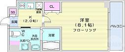 仙台市地下鉄東西線 川内駅 徒歩19分の賃貸マンション 6階1Kの間取り